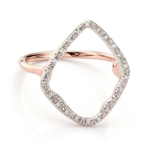 Rose Gold Vermeil Riva Hoop Cocktail Ring - Diamond - Monica Vinader