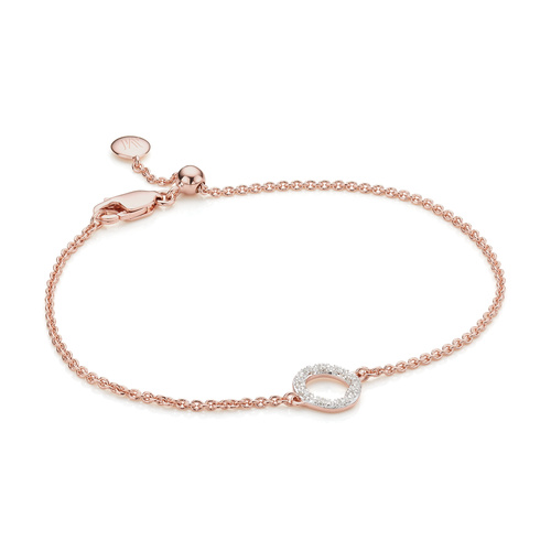 Rose Gold Vermeil Riva Mini Circle Bracelet - Diamond - Monica Vinader