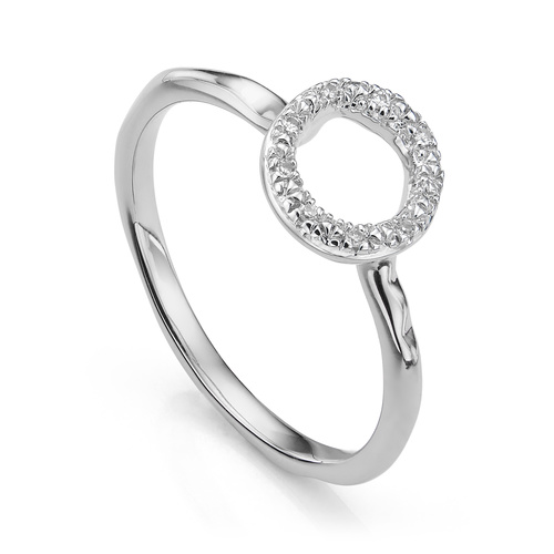 Riva Mini Circle Stacking Ring - Diamond - Monica Vinader