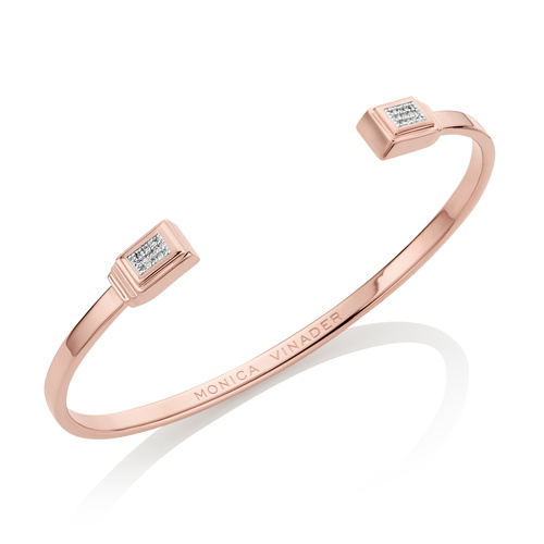 Rose Gold Vermeil Baja Deco Thin Cuff - Small - Diamond - Monica Vinader