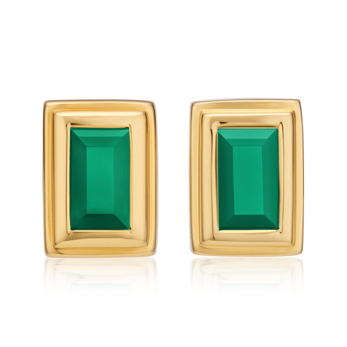 Gold Vermeil Baja Deco Stud Earrings - Green Onyx - Monica Vinader