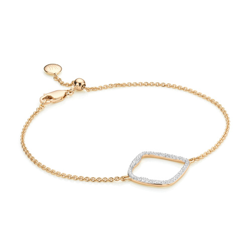 Gold Vermeil Riva Large Hoop Bracelet - Diamond - Monica Vinader