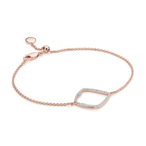 Rose Gold Vermeil Riva Large Hoop Bracelet - Diamond - Monica Vinader