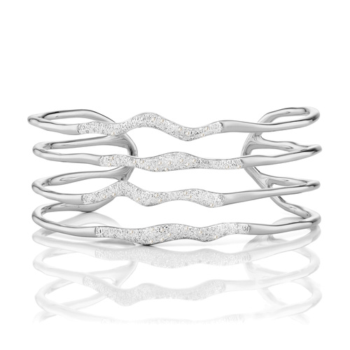 Riva Diamond Hero Wave Cuff - Large - Diamond - Monica Vinader