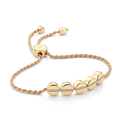 Gold Vermeil Linear Bead Diamond Row Friendship Chain Bracelet - Diamond - Monica Vinader