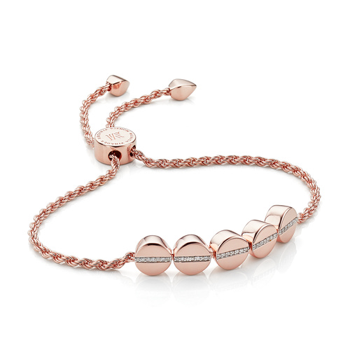 Rose Gold Vermeil Linear Bead Diamond Row Friendship Chain Bracelet - Diamond - Monica Vinader