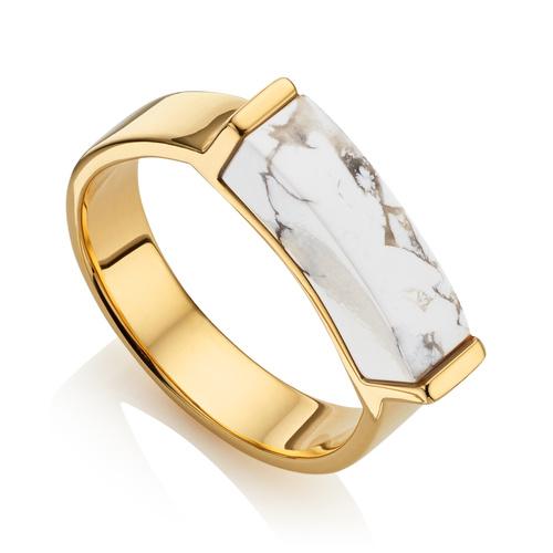 Gold Vermeil Linear Stone Ring - Howlite - Monica Vinader