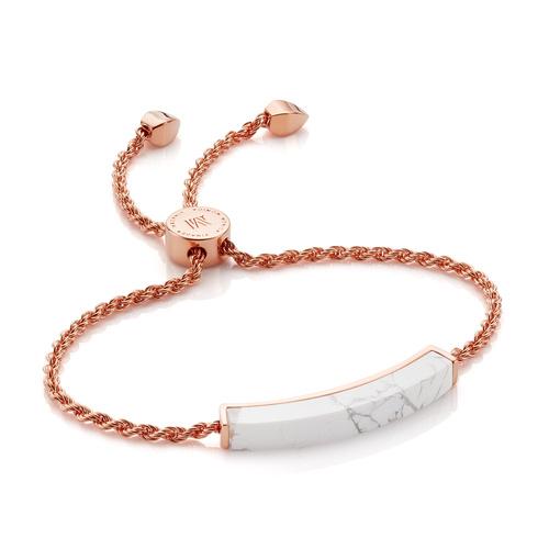 Rose Gold Vermeil Linear Stone Bracelet - Howlite - Monica Vinader