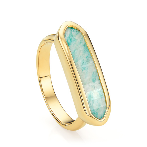Gold Vermeil Baja Ring - Amazonite - Monica Vinader