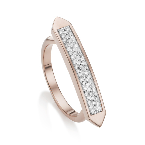 Rose Gold Vermeil Baja Skinny Ring - Diamond - Monica Vinader