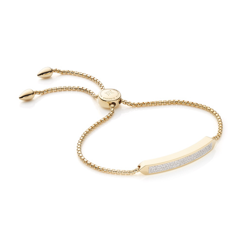 Gold Vermeil Baja Skinny Bracelet - Diamond - Monica Vinader