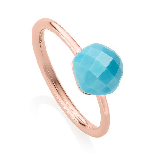 Rose Gold Vermeil Nura Mini Nugget Stacking Ring - Turquoise - Monica Vinader
