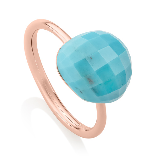 Rose Gold Vermeil Nura Pebble Stacking Ring - Turquoise - Monica Vinader