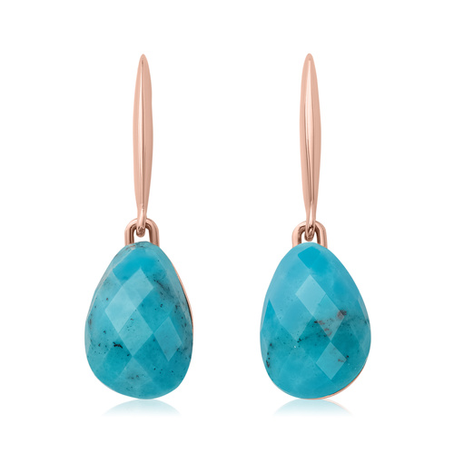 Rose Gold Vermeil Nura Small Teardrop Earrings - Turquoise - Monica Vinader