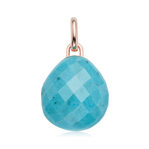 Rose Gold Vermeil Nura Pebble Pendant - Turquoise - Monica Vinader