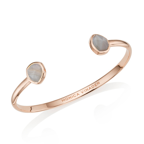 Rose Gold Vermeil Siren Thin Cuff - Small - Grey Agate - Monica Vinader
