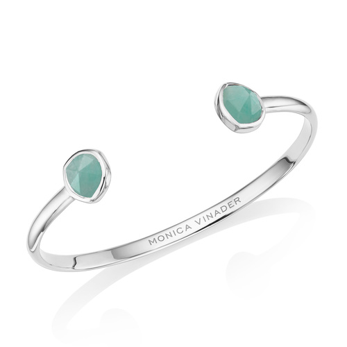Siren Thin Cuff - Small - Amazonite - Monica Vinader