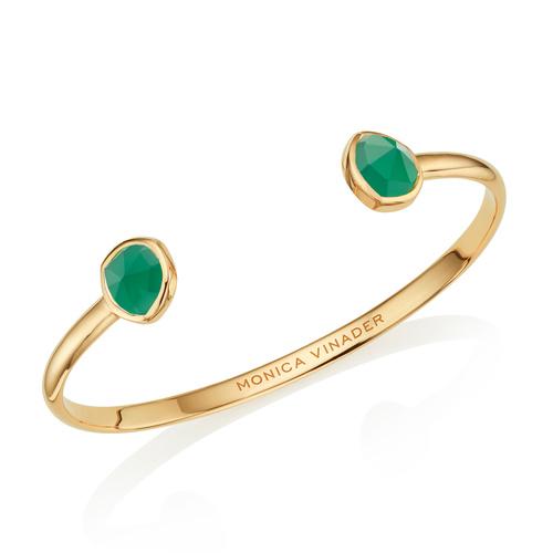 Gold Vermeil Siren Thin Cuff - Green Onyx - Monica Vinader