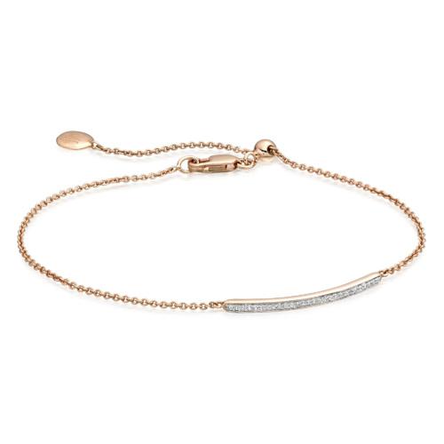 Rose Gold Vermeil Skinny Short Bar Bracelet - Diamond - Monica Vinader