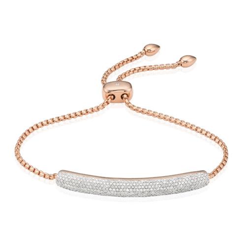 Rose Gold Vermeil Esencia Pave Bar Bracelet - Diamond