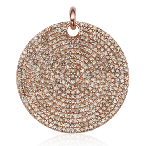 Rose Gold Vermeil Ava Large Disc Pendant - Champagne Diamond - Monica Vinader