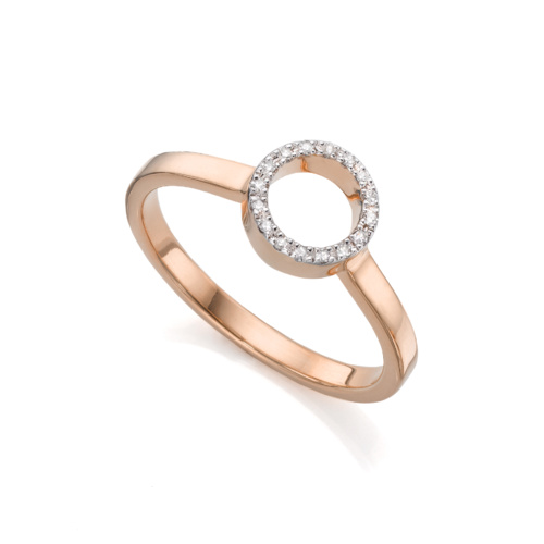 Rose Gold Vermeil Naida Mini Circle Open Ring - Diamond