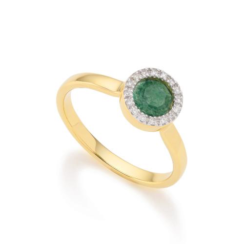 Gold Vermeil Naida Mini Circle Ring - Green Aventurine and Diamonds