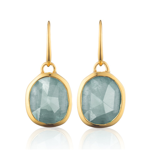 Gold Vermeil Siren Wire Earrings - Aquamarine
