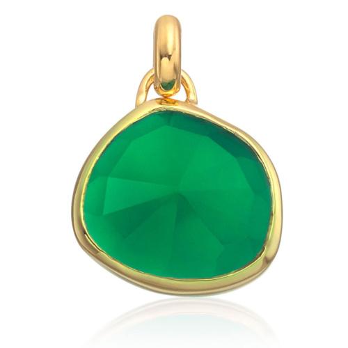 Gold Vermeil Siren Bezel Pendant - Green Onyx - Monica Vinader