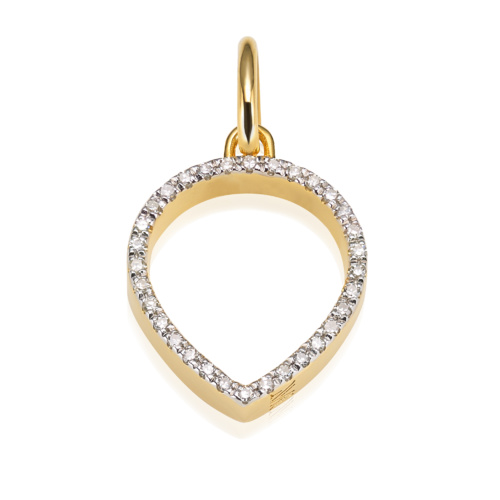 Gold Vermeil Naida Lotus Open Pendant - Diamond