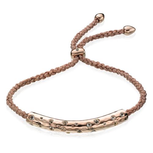 Rose Gold Vermeil Esencia Scatter Friendship Bracelet - Harmony - White Topaz - Monica Vinader