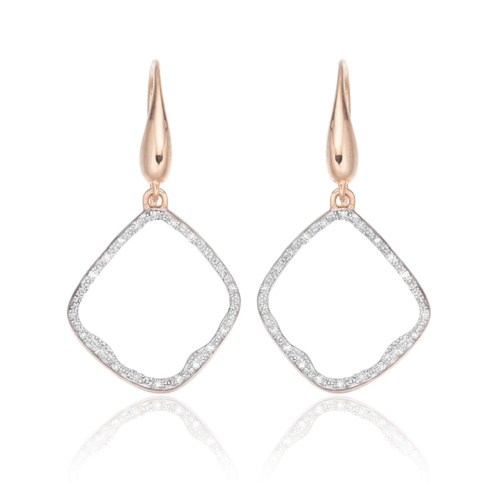 Rose Gold Vermeil Riva Diamond Hoop Earrings - Diamond - Monica Vinader