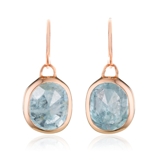 Rose Gold Vermeil Siren Wire Earrings - Aquamarine