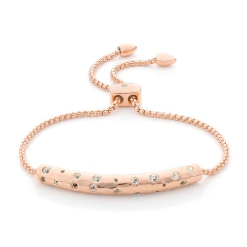 Rose Gold Vermeil Esencia Scatter Chain Bracelet - White Topaz - Monica Vinader