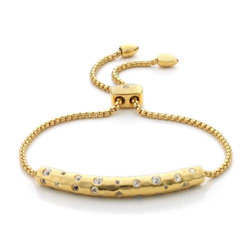 Gold Vermeil Esencia Scatter Chain Bracelet - White Topaz - Monica Vinader