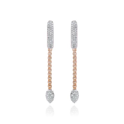 Rose Gold Vermeil Skinny Bud Short Full Pave Earrings - Diamond