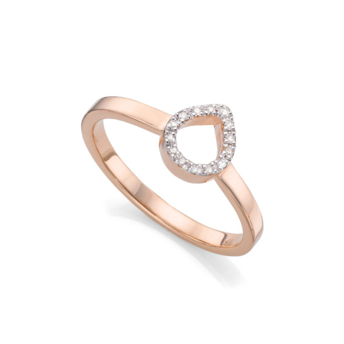 Rose Gold Vermeil Naida Mini Lotus Open Ring - Diamond