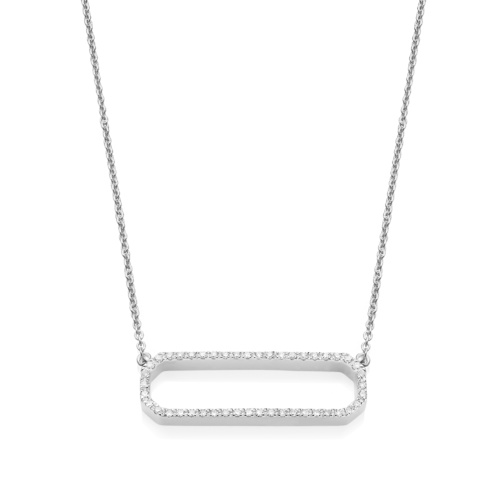 Naida Rectangle Open Necklace - Diamond
