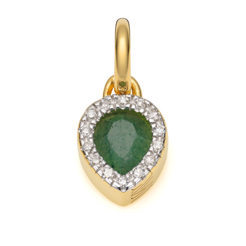 Gold Vermeil Naida Mini Lotus Pendant - Green Aventurine and Diamonds