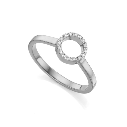 Naida Mini Circle Open Ring - Diamond