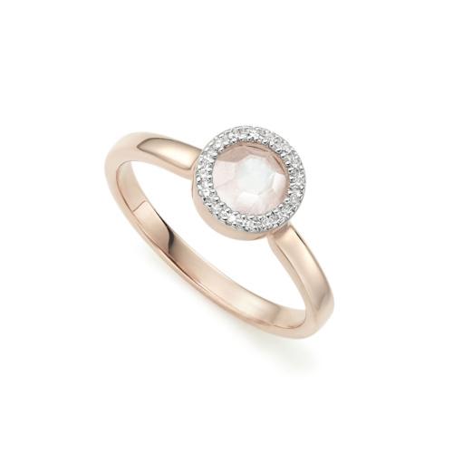 Rose Gold Vermeil Naida Mini Circle Ring - Moonstone and Diamonds