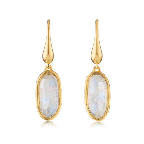 Gold Vermeil Vega Drop Earrings - Moonstone