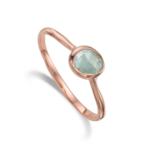 Rose Gold Vermeil Siren Small Stacking Ring - Aquamarine