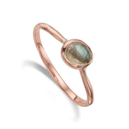 Rose Gold Vermeil Siren Small Stacking Ring - Labradorite