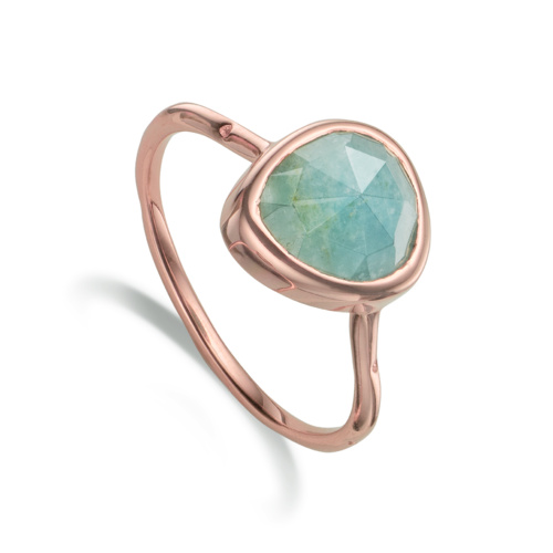 Rose Gold Vermeil Siren Stacking Ring - Aquamarine