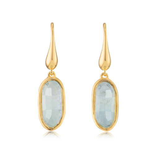 Gold Vermeil Vega Drop Earrings - Aquamarine - Monica Vinader