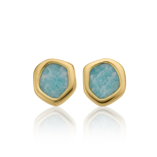 Gold Vermeil Atlantis Gem Mini Stud Earrings - Amazonite 1