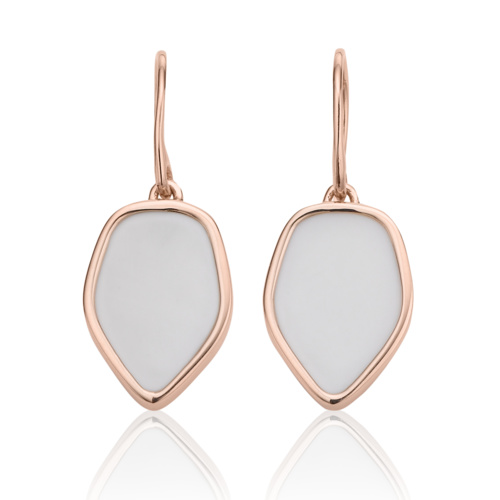 Rose Gold Vermeil Atlantis Flint Drop Earrings - White Chalcedony 1
