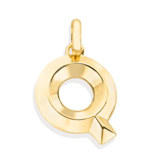 Gold Vermeil Alphabet Pendant Q