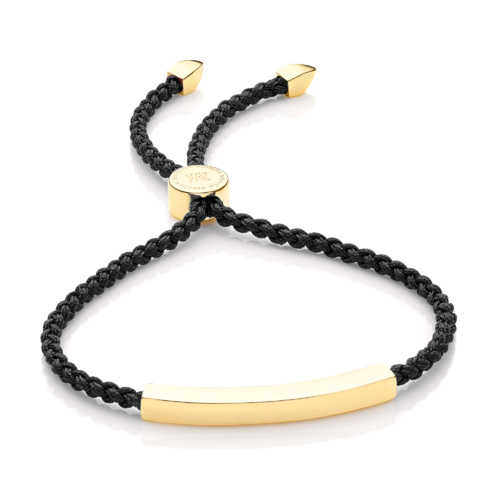 Gold Vermeil Linear Friendship Bracelet - Black Cord